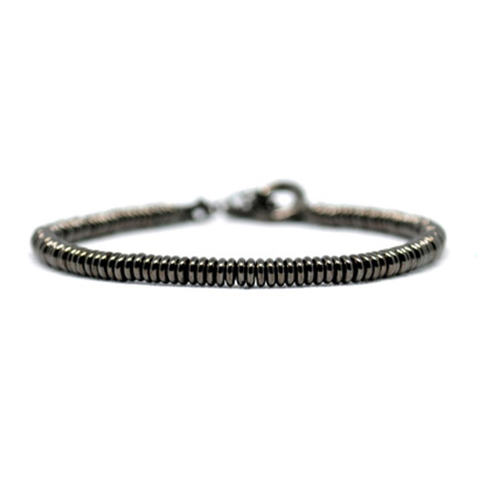 Single Beaded Bracelet | Black Beads | Double Bone