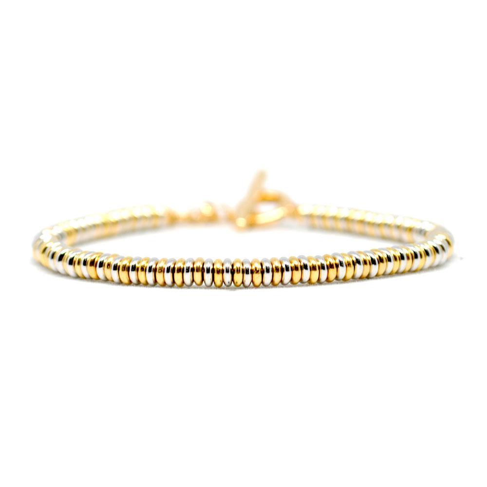 Single Beaded Bracelet | White/Yellow Gold | Double Bone
