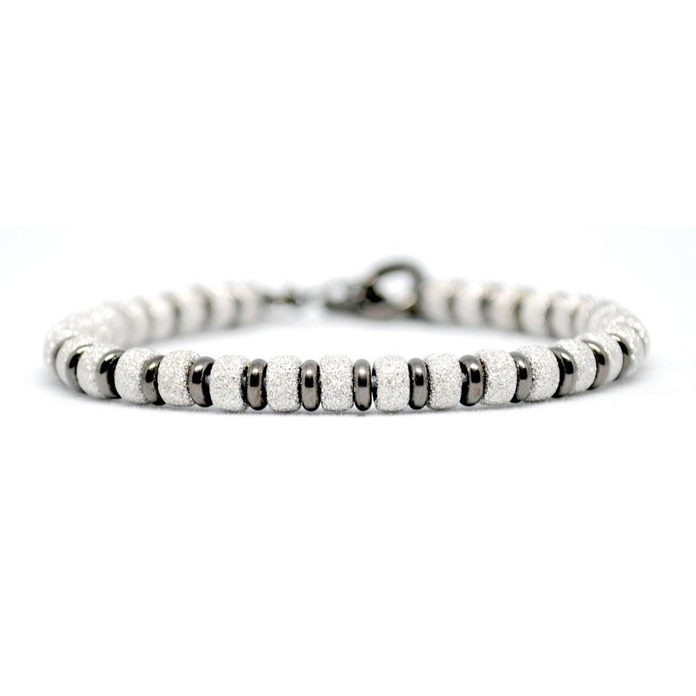 Multi Beaded Bracelet   White Gold/Black Beads   Double Bone