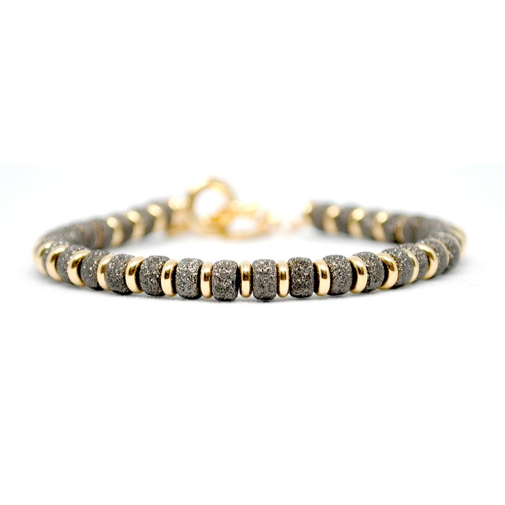 Multi Beaded Bracelet | Black & Gold Beads | Double Bone