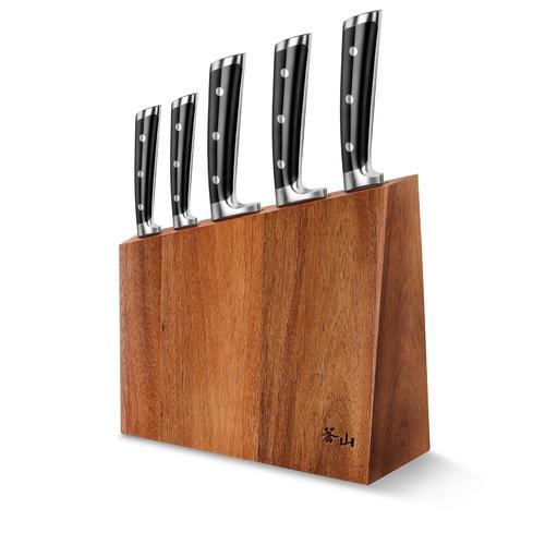 S Series | 6-Piece Set | Black | Acacia Wood