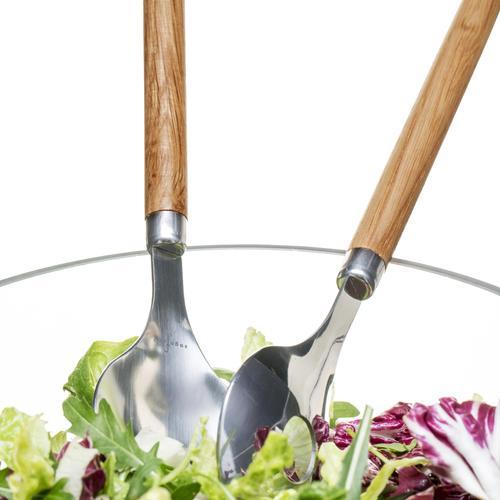Oak and Steel Salad Utensils   Set of Two   Sagaform