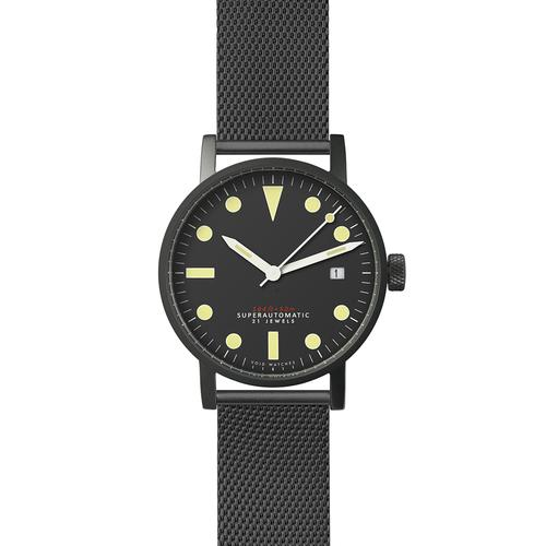 Satin matte Black Mechanical | Black Milanese metal bracelet