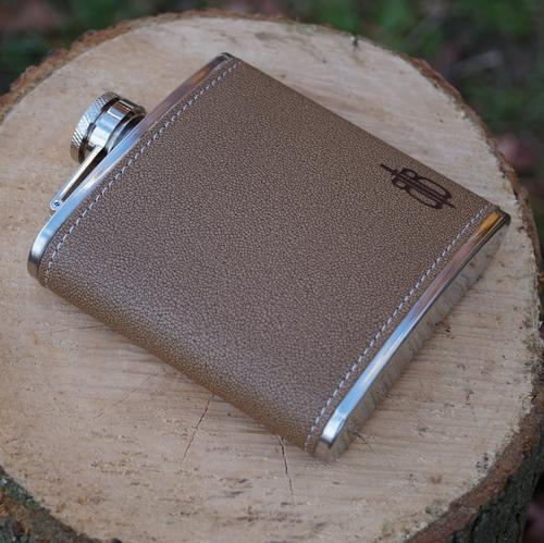 Geniune Leather Flask Set   6 oz.
