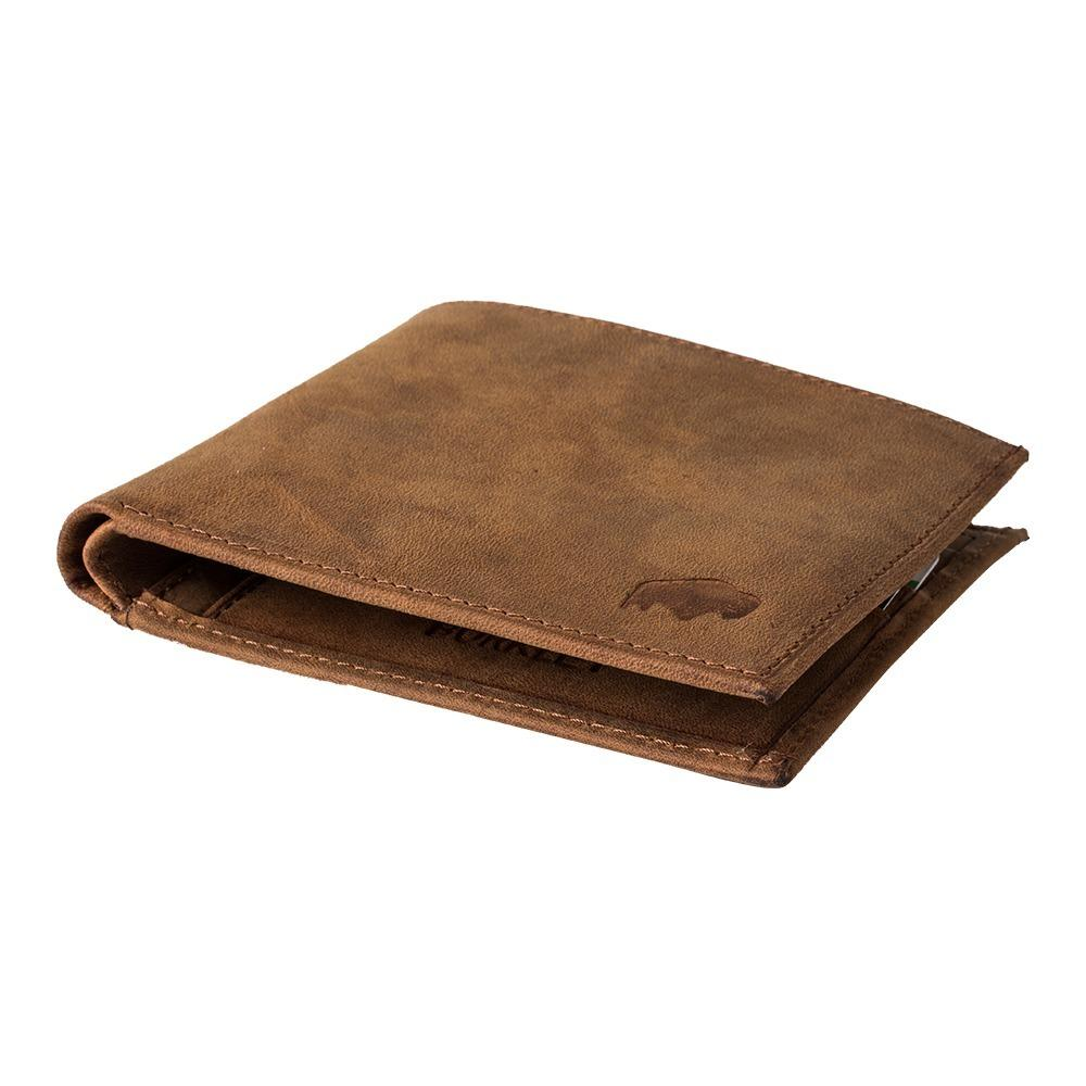 Classic bi fold wallet in antique camel leather for Yamaha leather wallet