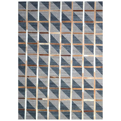 Handmade Jacquard Leather Brown Charcoal Rug | Leather Rugs