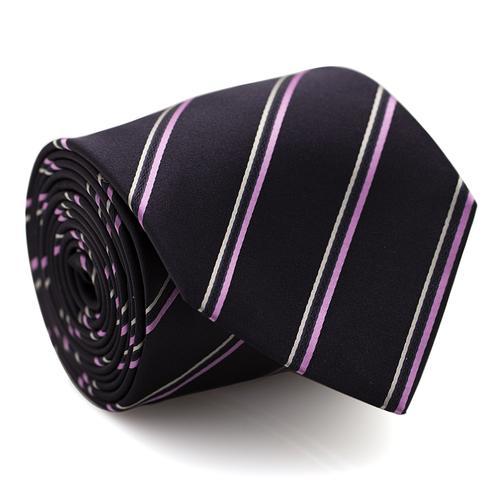 Necktie | Navy Blue with Pink Stripes