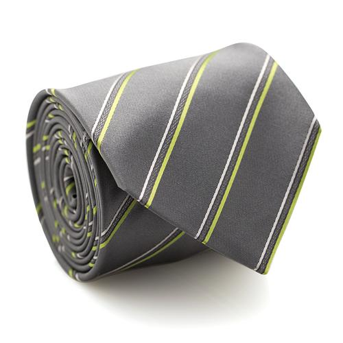 Necktie | Gray with Green Stripes
