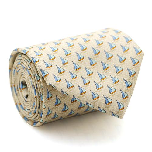 Necktie | Light Yellow with Sailboats Pattern