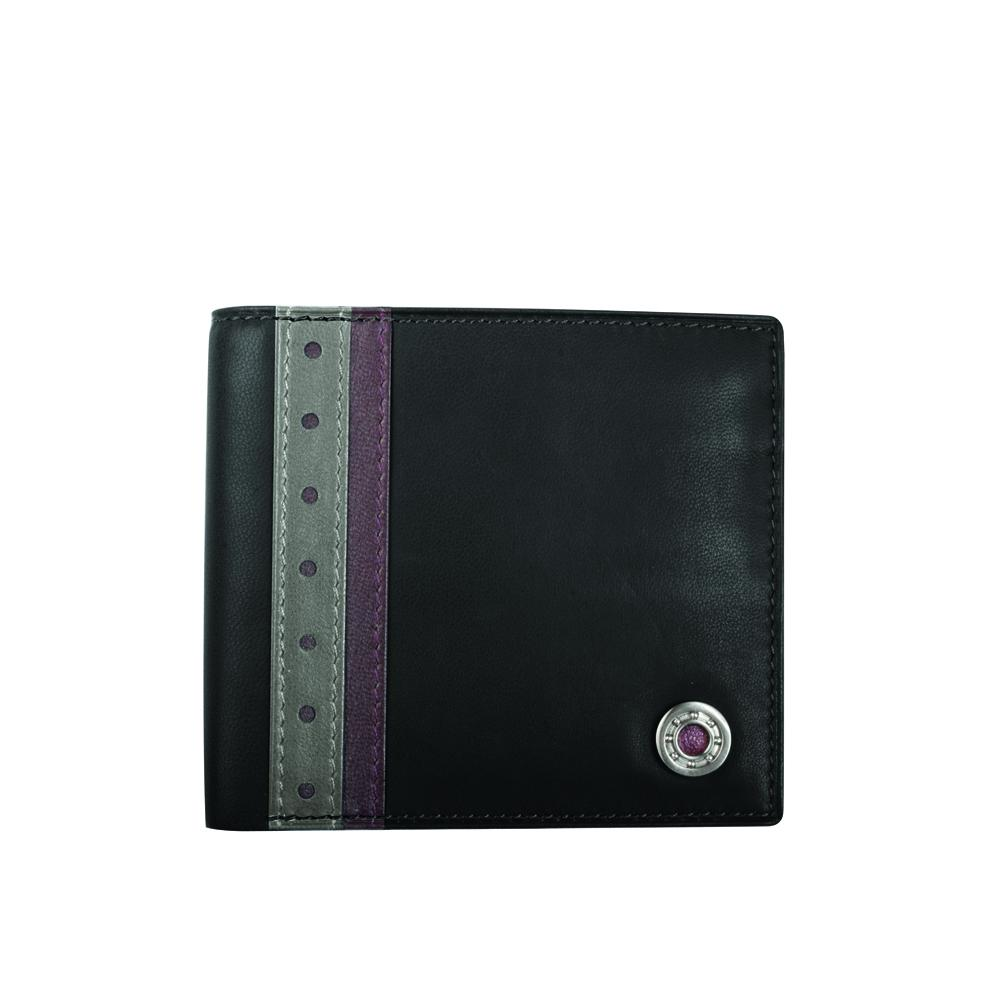 Leather Bearing Coin Pocket Wallet | Black | GTO London