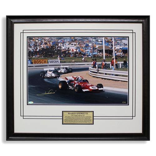 Mario Andretti Signed 1971 Ferrari Victory Photo