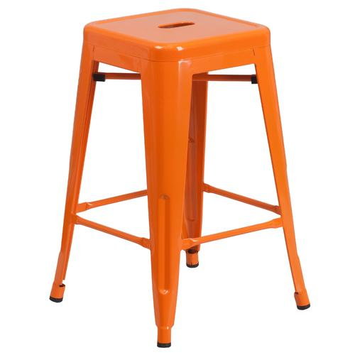 24'' Indoor-Outdoor Counter Height Stool with Square Seat
