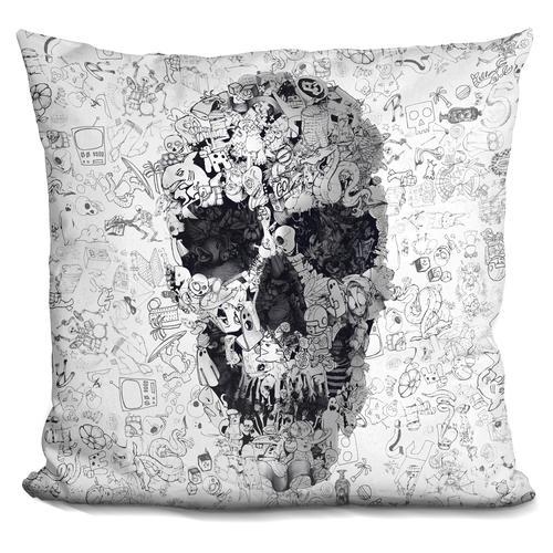 'Doodle s bw' Throw Pillow