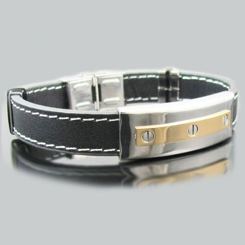 Black Leather 18k Gold Plated Stainless Steel Screw Bracelet