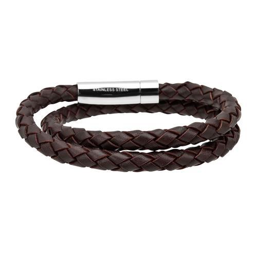 Men's double round braided genuine leather bracelet