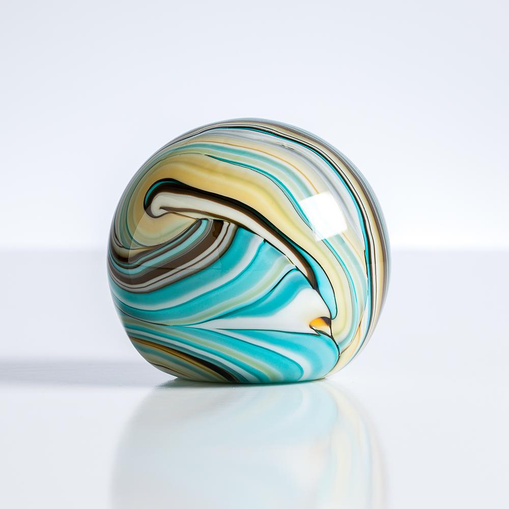 swirl teal gold glass ball paperweight workspace decor