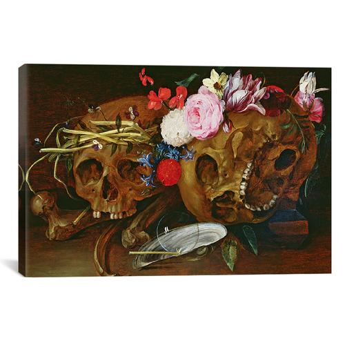 Vanitas Still Life with Skulls, Flowers, a pearl mussel shell