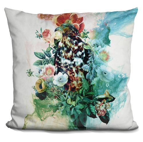 Riza Peker 'Bird in Flowers' Throw Pillow