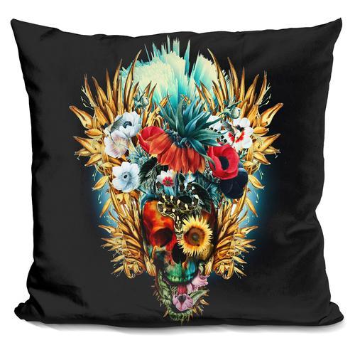Riza Peker 'Floral Skull Vivid' Throw Pillow