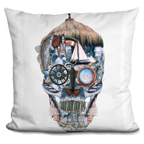 Riza Peker 'Skull Ocean' Throw Pillow