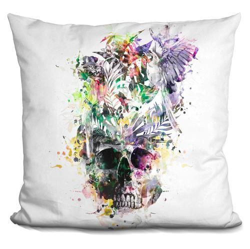 Riza Peker 'Skull-Parrots2' Throw Pillow