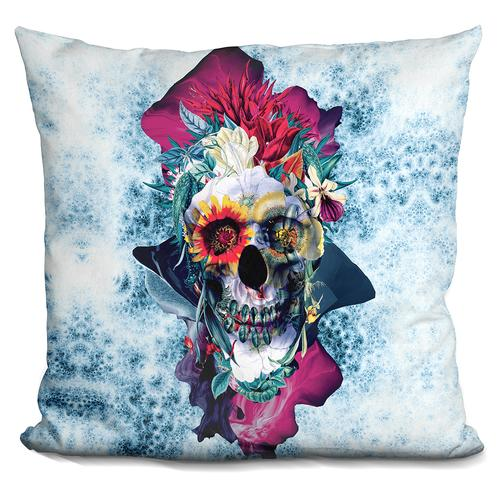 Riza Peker 'Floral Skull Blue II' Throw Pillow