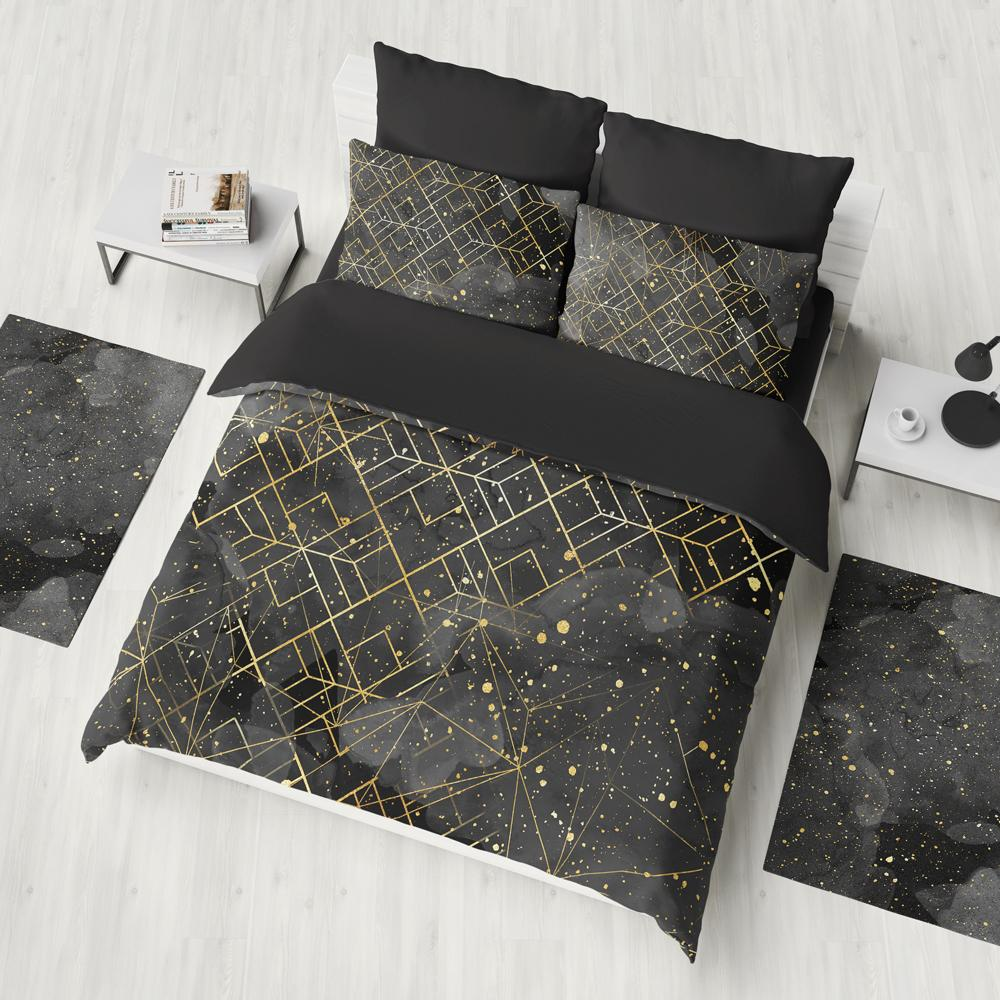 Black And Gold Geometry Duvet Cover Set