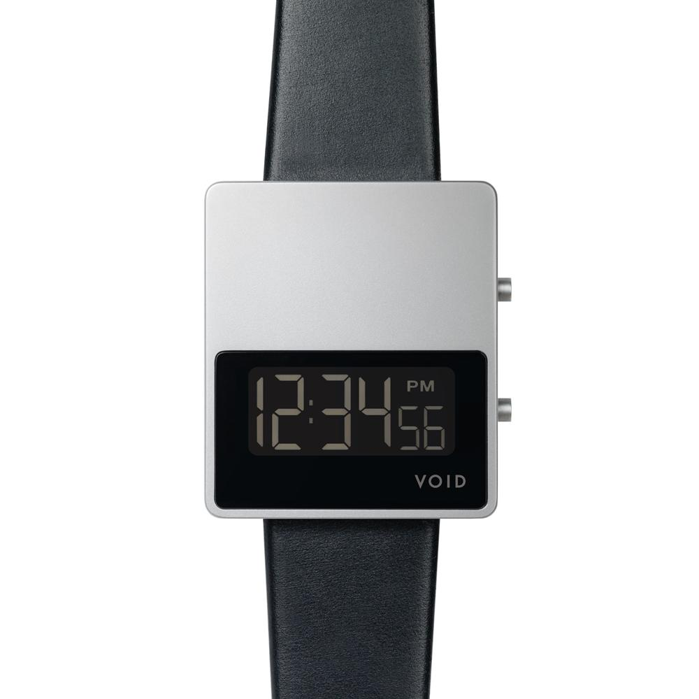 Matte Silver LCD w Black leather strap | Silver buckle