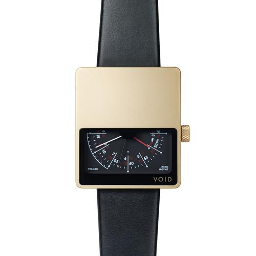 Matte Gold Analogue w Black leather strap   Gold buckle