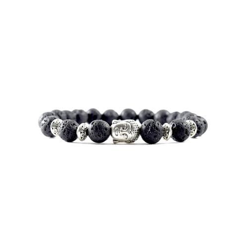 Silver Buddha | Lava Stone Bracelet