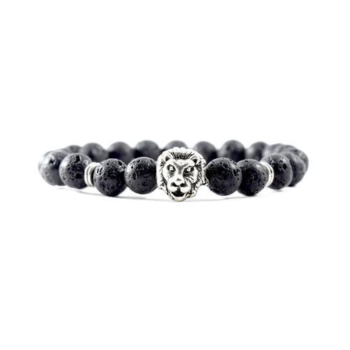 Silver Lion   Lava Stone Bracelet