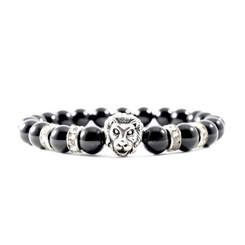 CZ | Onyx | Silver Lion Bracelet