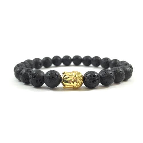Lava Stone | 24kt Gold Buddha