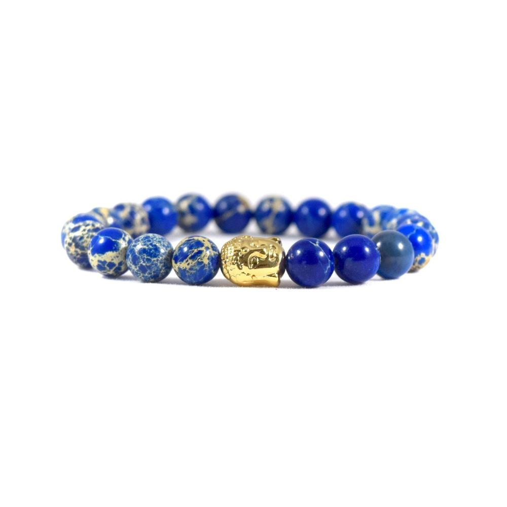Blue Deep Sea Jasper   24kt Gold Buddha   Executive Society